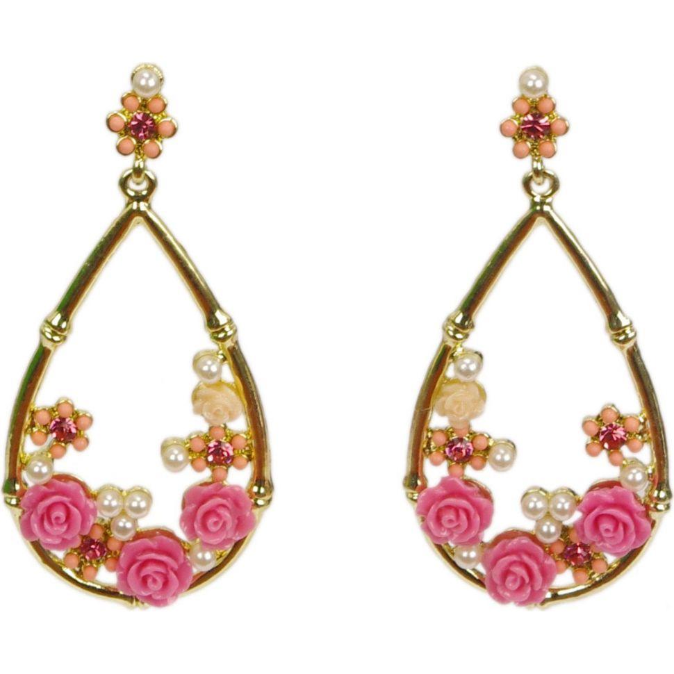 Boucles d'oreilles, boucles fleurs et perle,3233 rose Rose - 3245-10975