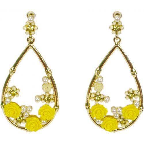 Boucles d'oreilles, boucles fleurs et perle