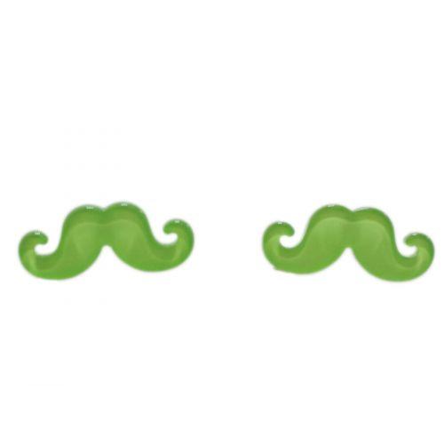 Boucles d'oreilles moustache en acrylique, 2094 vert fluo