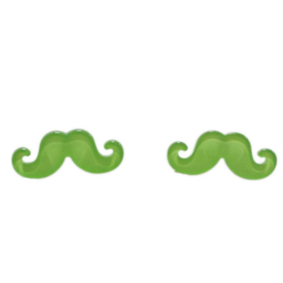 Boucles d'oreilles moustache en acrylique, 2094 vert fluo Vert fluo - 3463-12242