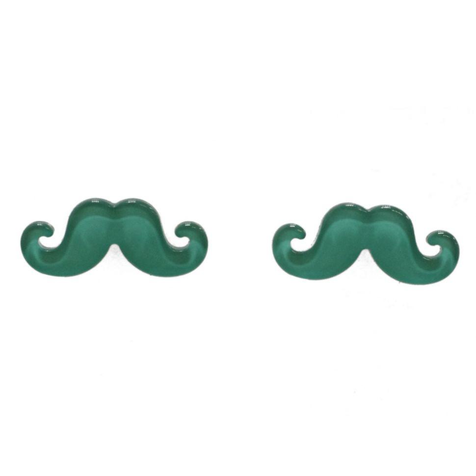 Boucles d'oreilles moustache en acrylique, 2094 vert pin Vert pin - 3473-12388