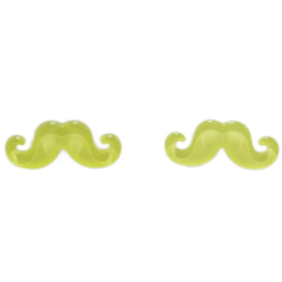 Boucles d'oreilles moustache en acrylique, 2094 jaune fluo Jaune Fluo - 3474-12397