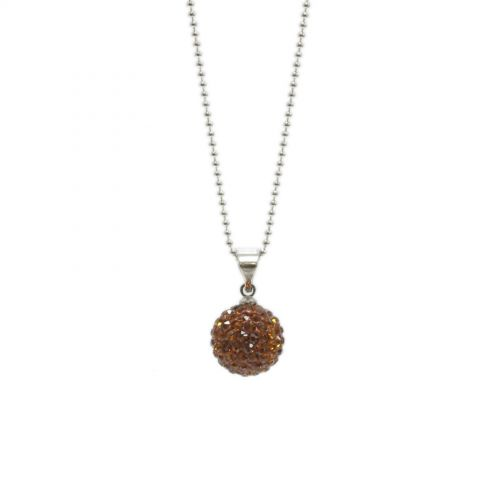 Collier disco ball à strass A087-1 Marron - 3714-13987