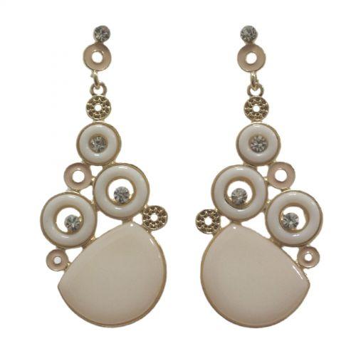 Orecchini orecchie d'oro, rotondo e strass, 2188 Bianco