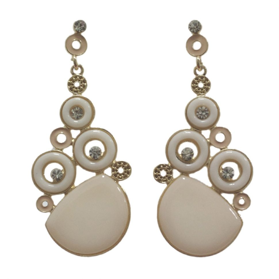Boucles d'oreilles dorés, rond et strass, 2188 Blanc