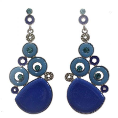 Orecchini orecchie d'oro, rotondo e strass, 2188 Blu