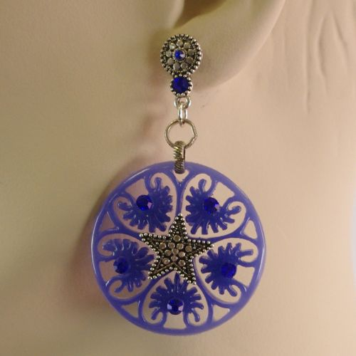 Boucles d'oreilles,étoile acrylique, 5638 BLEU