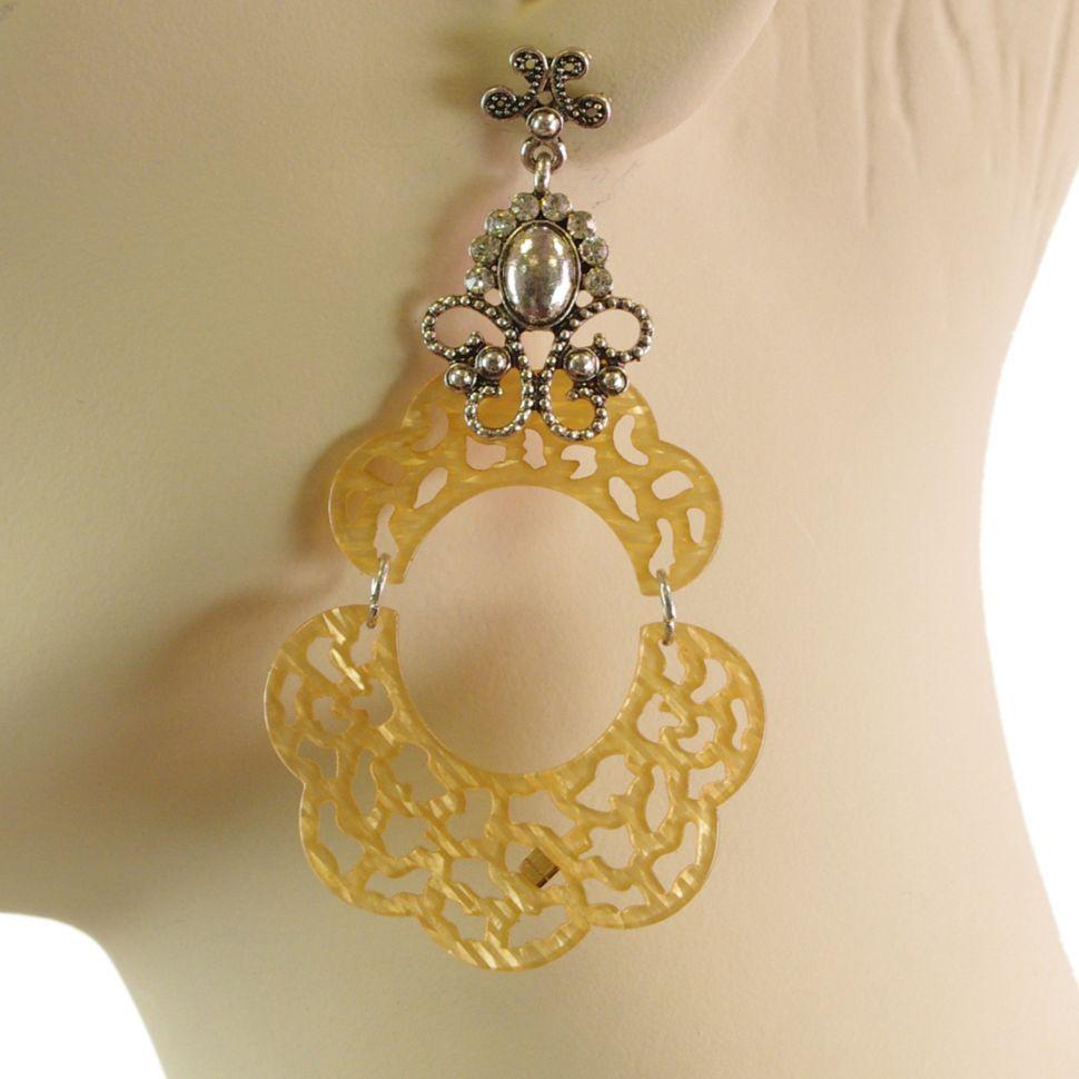 Boucles d'oreilles acrylique, 5645 BEIGE