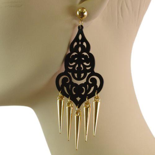 Boucles d'oreilles acrylique,5649 NOIR-OR