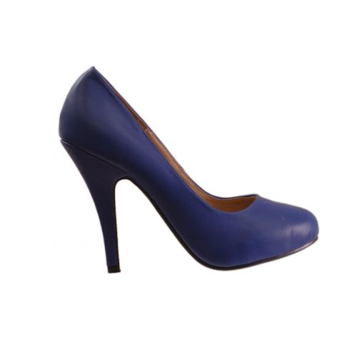 Escarpin à bout rond avec 10 cm de talon, 5952 Bleu