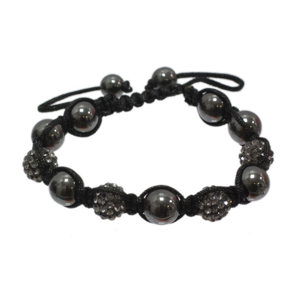 Bracelet Shamballa 4, AOH-16 Noir-gris - 1416-20204