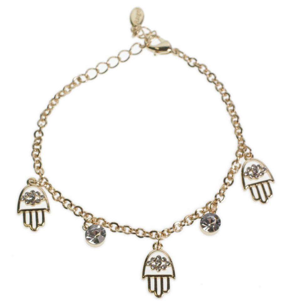 Bracelet la main de Fatima et strass Doré - 7369-22093