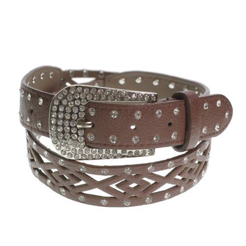 4 cm strass leatherette belt, QL19
