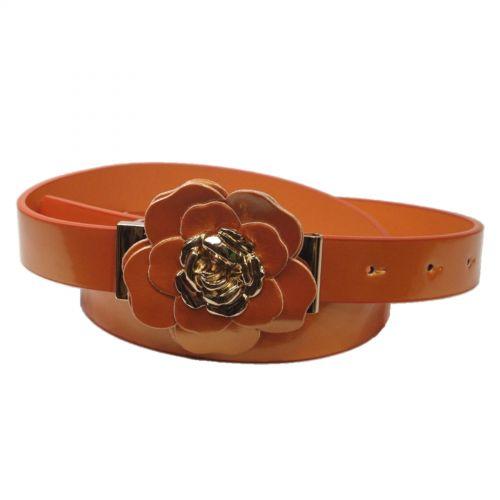 Cinturón 2cm flor charol BRIELLE