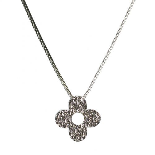 Collier trèfle strass, 7695 Argent