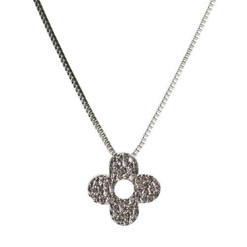 strass trifoglio collana d'argento 7695