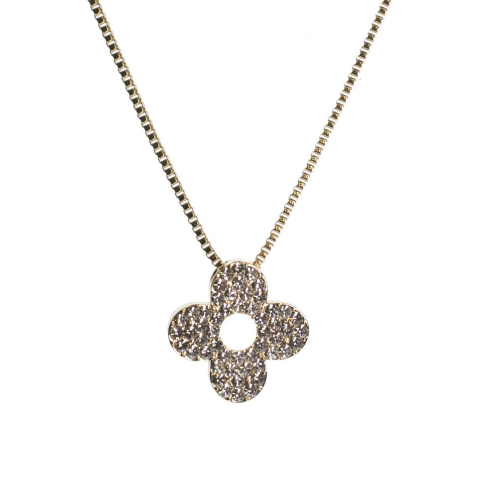Collier trèfle strass, 7695 Or