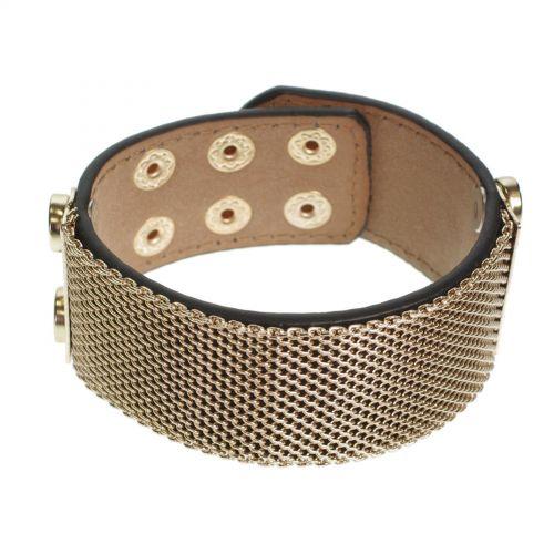 Bracelet similicuir mailles métal, 7952 Noir (Doré) - 7953-23309
