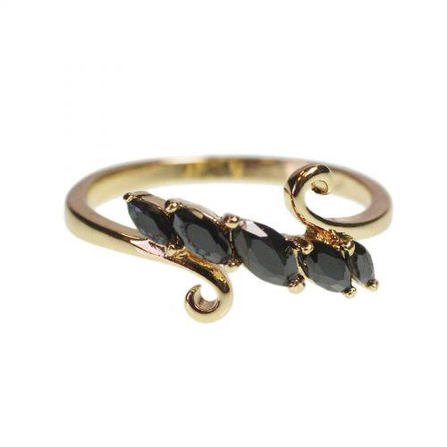 Zirconium rhinestone Copper ring golden with gold, EVINDI