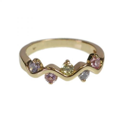 Copper Ring Zirconium Crystal golden with gold FERYELLE