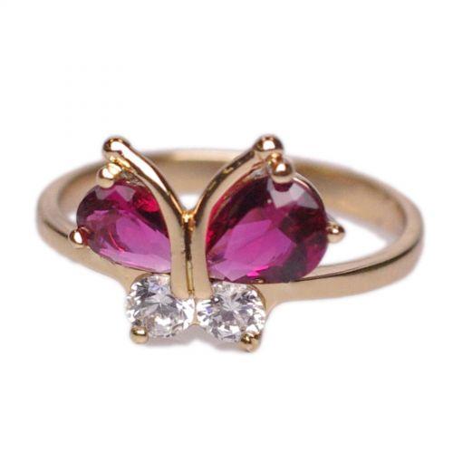 Anello di Zirconio farfalla placcato oro 1 micron, 8507 Gold (fucsia)