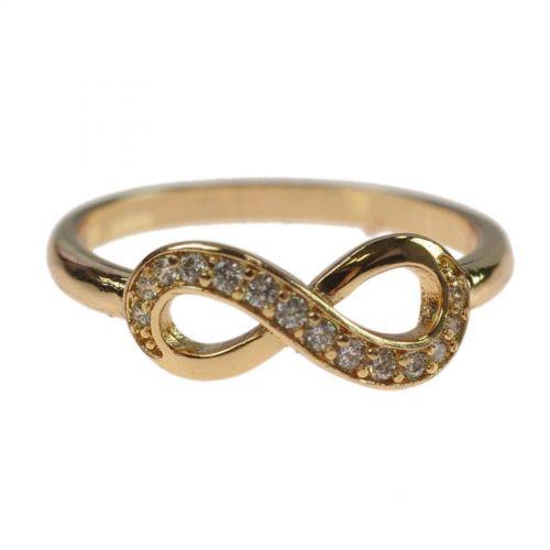 Infinity Anello di zirconio placcato oro 1 micron Doré 8521