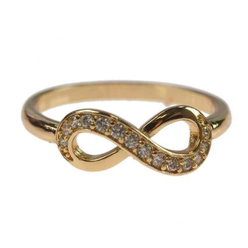 infinity zirconium rhinestone Copper ring golden with gold, LEXIE