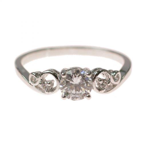 Anello rodio zirconio, argento 9294