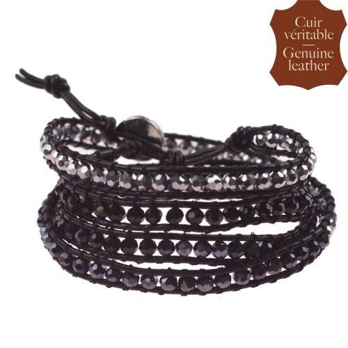 Bracelet à enrouler en cuir et cristal WENDY