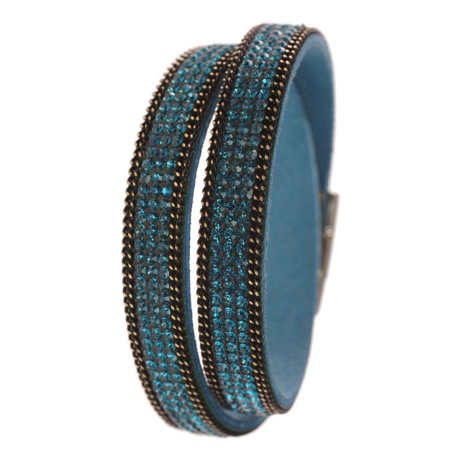 Bracelet double tours de strass cristal 8788 Bleu - 8788-26651