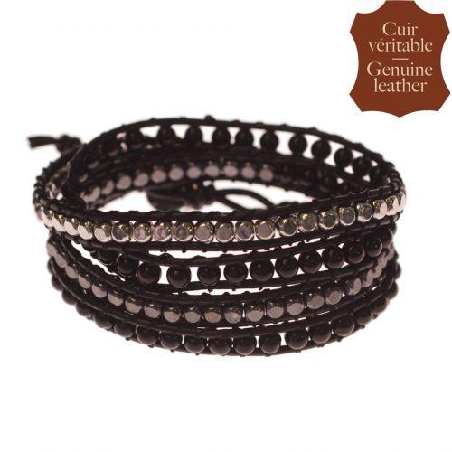 Bracelet chanluu cuir perles et hématites 5218 Noir (Noir, Gris, Argenté) - 9424-26653