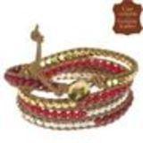 Bracelet chanluu cuir perles et hématites 5218 Camel (Rouge) - 9424-26655