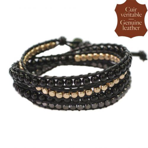Bracelet chanluu cuir perles et hématites 5218
