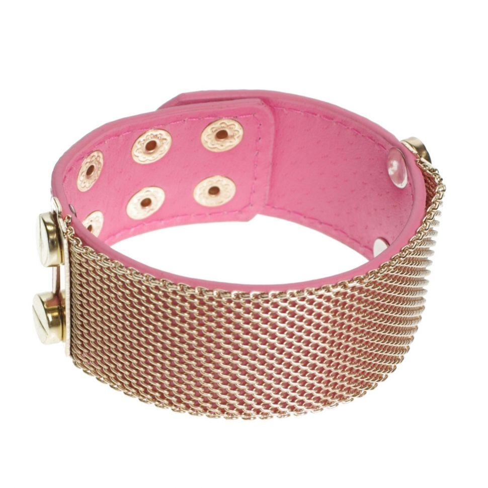 Bracelet similicuir mailles métal, 7952 Rose - 7953-26811