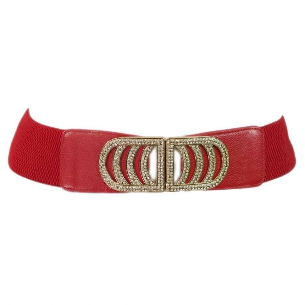 Ceinture élastique 6cm boucle à strass ALEXANDRINE Rouge - 9179-26982
