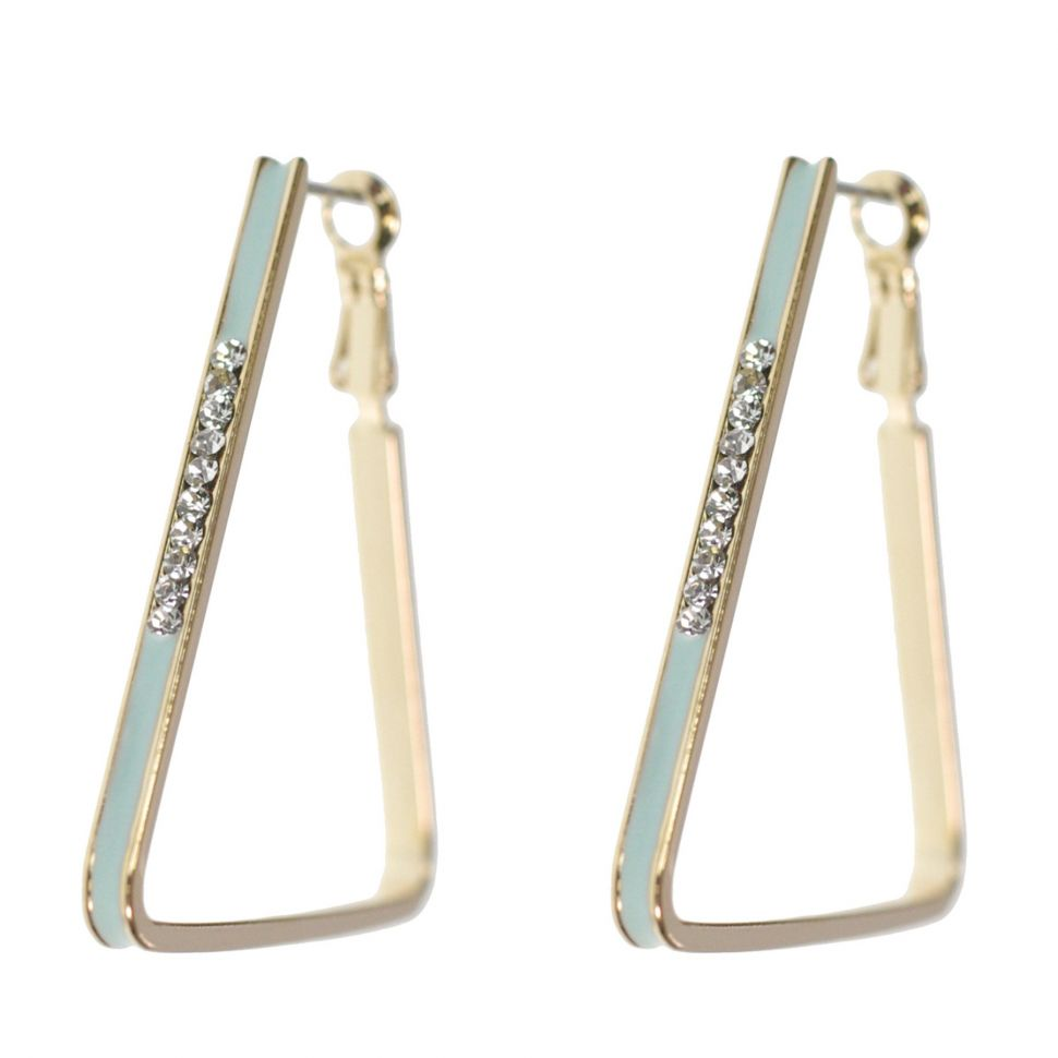 Boucles d'oreilles doré triangle strass de zirconia 9459 Vert - 9459-27112