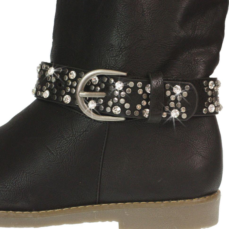 Paire de bijoux de bottes cuir Strass et rivets ZOELIE Noir (Argenté) - 9488-27339