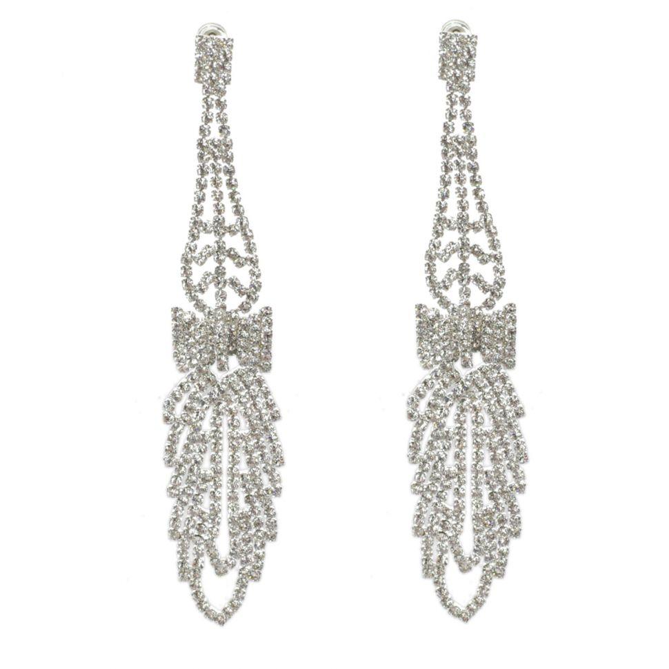 Boucles d'oreilles Noeud papillon strass cristal 9499 Blanc - 9499-27465
