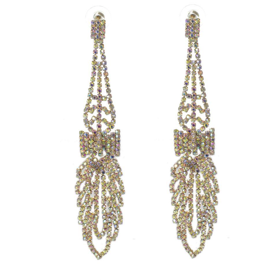 Boucles d'oreilles Noeud papillon strass cristal 9499 Doré - 9499-27466
