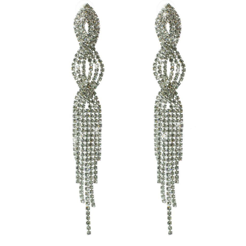 Boucles d'oreilles longues cristal 9501 Blanc - 9501-27469