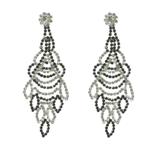 Wings strass earrings , 6348 Black