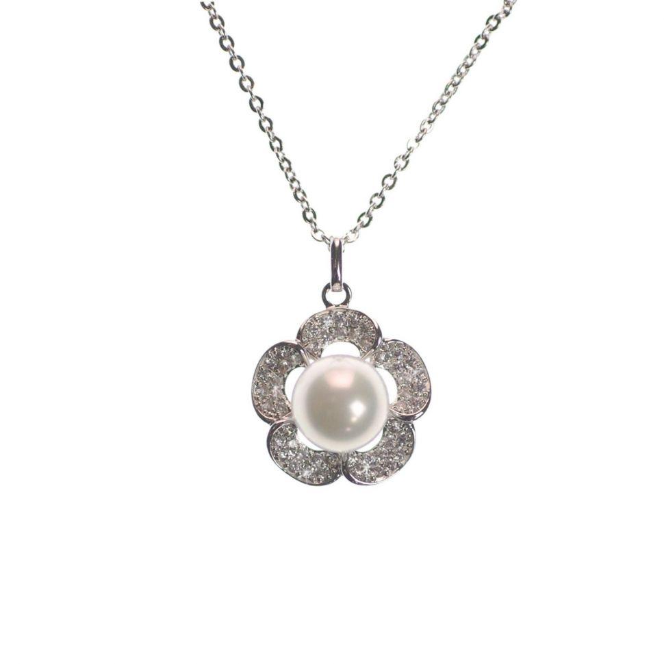 Collier rhodié fleur à perle 9536 Argenté - 9536-27729