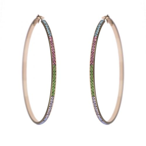 Creole earrings 70 mm zirconium crystal NAOLINE