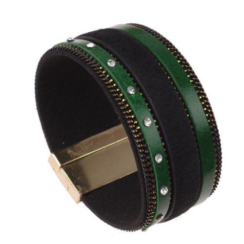 Bracelet manchette fourrure et cuir OFELIE Vert - 9615-28293