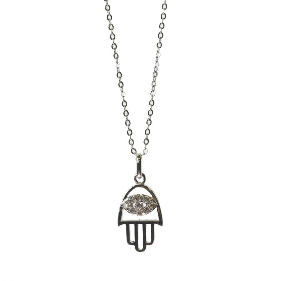 Fatman hand necklace rhodium