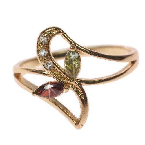 Bague cuivre à strass, cristal de zirconium doré à l'or OCEANE