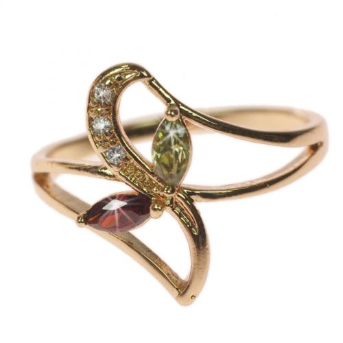 zirconium rhinestone Copper ring golden with gold, OCEANE