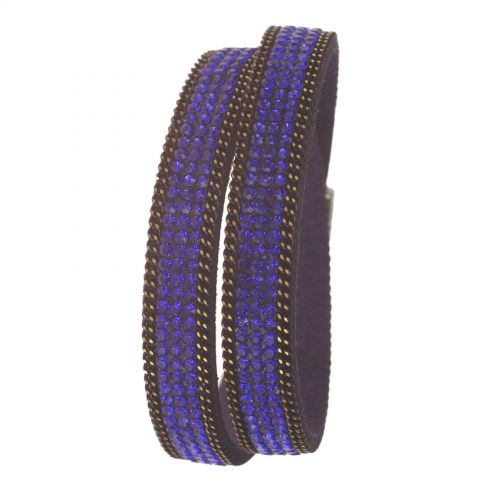 Bracelet double tours de strass cristal 8788 Bleu cyan - 8788-28379