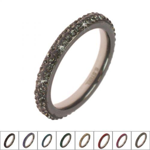 Anello in acciaio con strass zirconia regina 9665