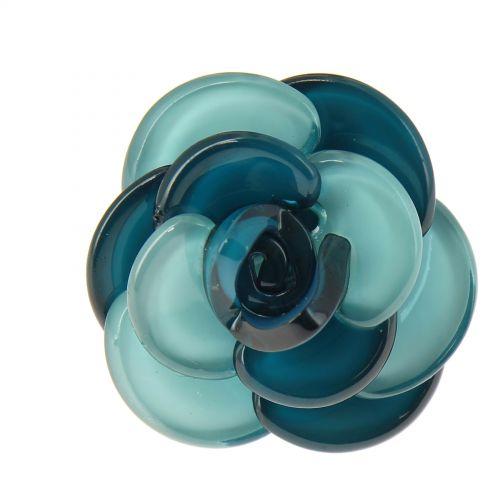 Bague fantaisie résine, Fleur, AOS-18 Bleu pétrole - 3541-29455